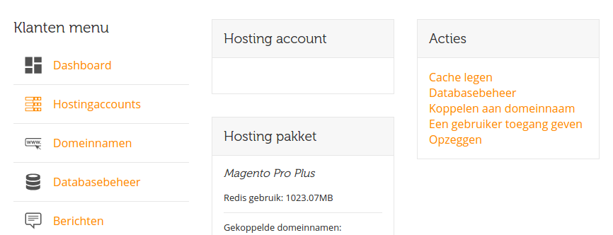 Magento Cache legen via het dashboard