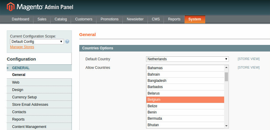 Magento Allow Countries