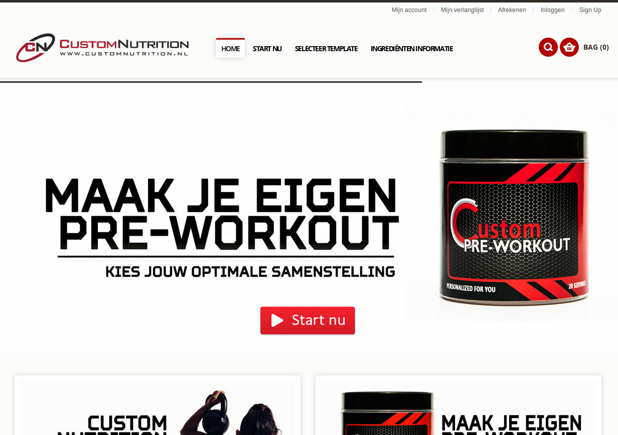 CustomNutrition.nl website